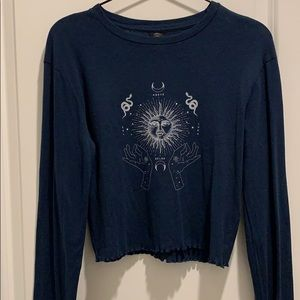 Urban Outfitters Navy Long Sleeve Crop Top